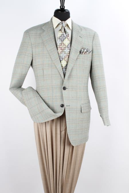 SKU#K24S Mens 100% Wool Sport Coat - Notch Lapel Green Plaid $89