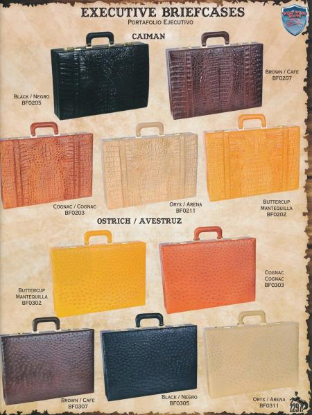 SKU#7GV5 Full Genuine Caiman & Ostrich Hard Business Briefcases Diff. Colors $899