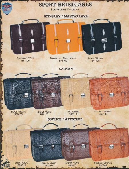 SKU#7Y4F Full Genuine Stingray, caiman ~ alligator, & Ostrich Sport Briefcases Diff. Colors $725