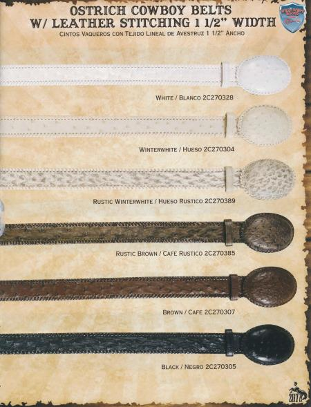 "Ostrich/Leather Cowboy Belts 15"""
