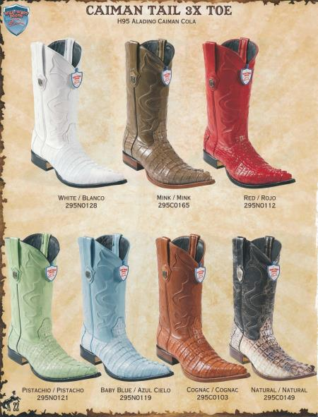 SKU#4G4G XXX-Toe caiman ~ alligator Tail Men's Cowboy Western Boots Diff.Colors/Sizes