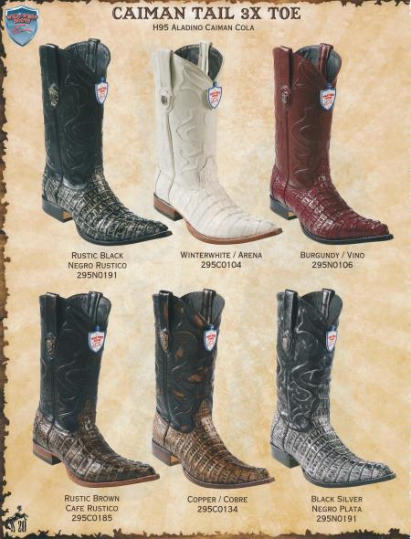 SKU#6GSS XXX-Toe caiman ~ alligator Tail Mens Cowboy Western Boots Diff.Colors/Sizes $349