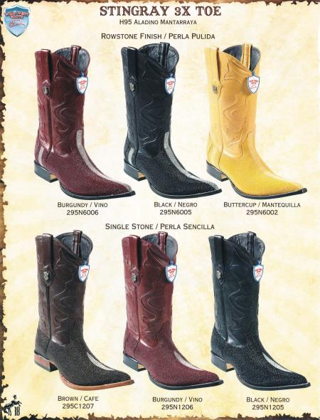 SKU#6J4F XXX-Toe Stingray Mens Cowboy Western Boots Diff. Colors/Sizes $369