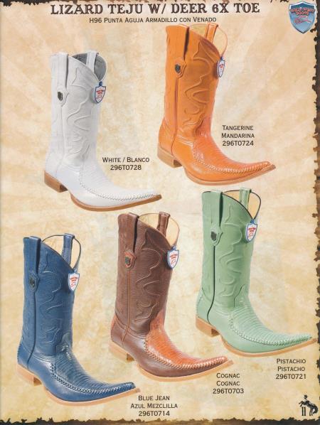 SKU#4R3E 6X-Toe Lizard Teju W/ Deer Mens Cowboy Boots Diff. Colors/Sizes