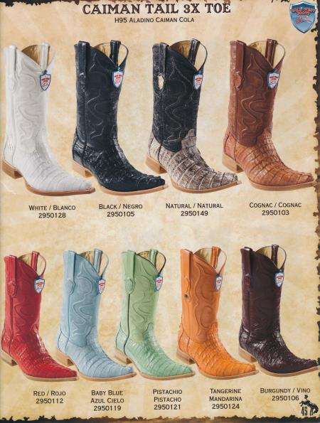 SKU#2G4F XXX-Toe Genuine caiman ~ alligator Tail Mens Cowboy Western Boots Diff.Color/Size