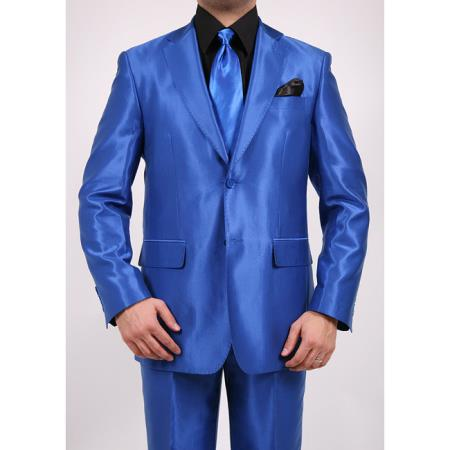 SKU#R43FD Tapered Leg Lower Rise Pants & Get Skinny Shiny Sharkskin Flashy Metallic Mens Royal Blue Two-Button 2-Piece Slim Fit Suit $595