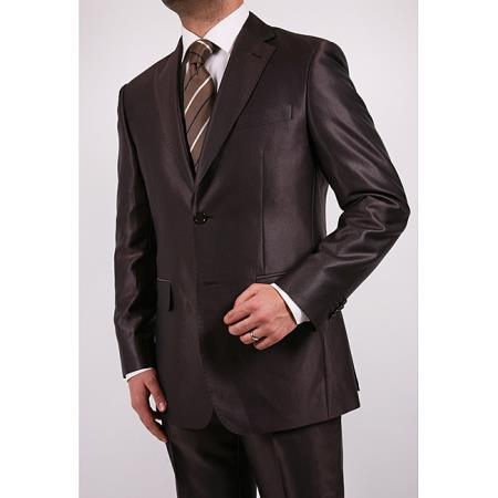 SKU#H3F4 Tapered Leg Lower Rise Pants & Get Skinny Mens Shiny Brown 2-Button 2-Piece Slim Fit Suit $175