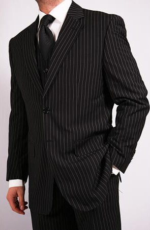 1920s Men's Suits History Mens 3Piece Black Pinstripe Vested Suit with Tie $125.00 AT vintagedancer.com