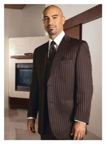 MensUSA.com 2 Button Brown Stripe Tuxedo(Exchange only policy) at Sears.com
