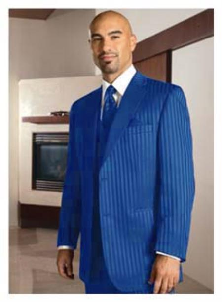 MensUSA.com 2 Button Dark Blue Stripe Tuxedo(Exchange only policy) at Sears.com