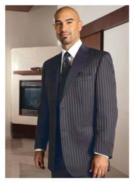 SKU#C09F 2 Button Charcoal Shadow Ton on Ton Pinstripe Tuxedo Formal Suit $595