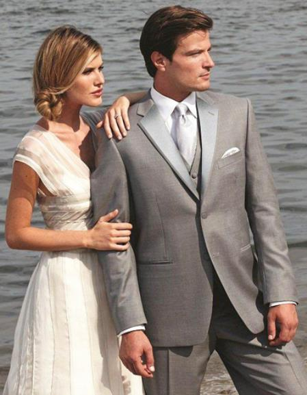 SKU#6F54 Stunning Grey Two Button Tuxedo $595
