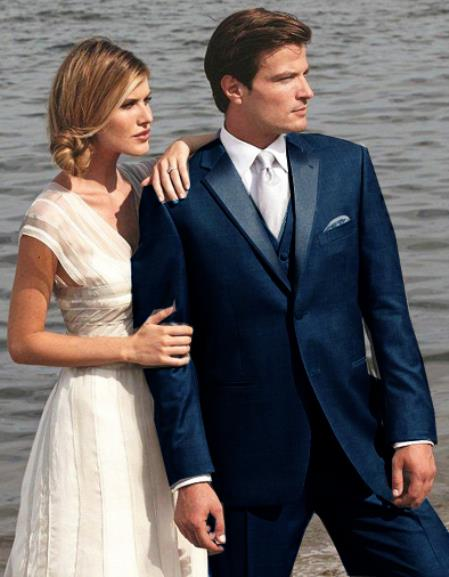 SKU#6G3D Stunning Navy ~ Midnight blue Two Button Tuxedo