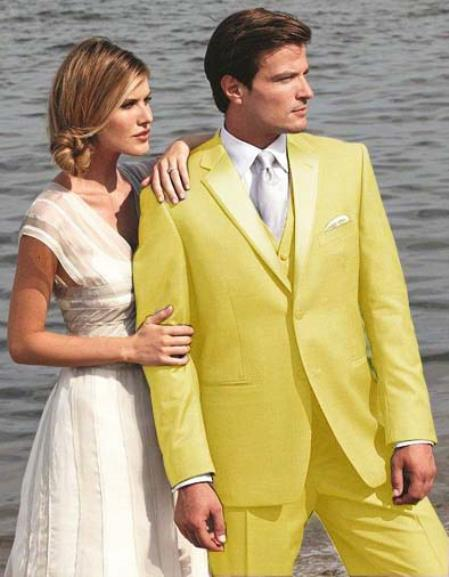 SKU#P3ED Stunning Yellow Two Button Tuxedo $595