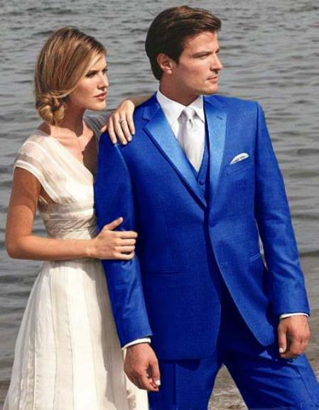 SKU#RB5F Stunning Royal Blue Two Button Tuxedo $595