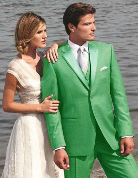 SKU#S4S3 Stunning Apple Green Two Button Tuxedo $595