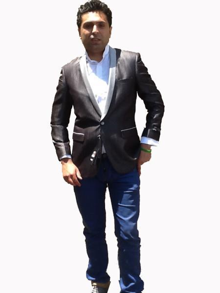 SKU#P02X Colored Bright Mens Sport Coat / Dinner Jacket Blazer Vented Black with Silver Lapel $139