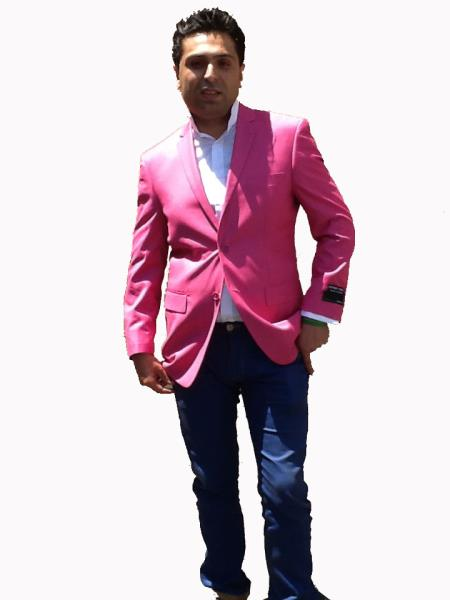 SKU#H22G Stage Party Bright Mens Sport Coat / Dinner Jacket Blazer Vented Pink $139