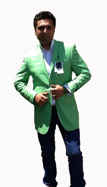 SKU#Y3B4 Colored Bright Mens Sport Coat / Dinner Jacket Blazer Vented Green $139