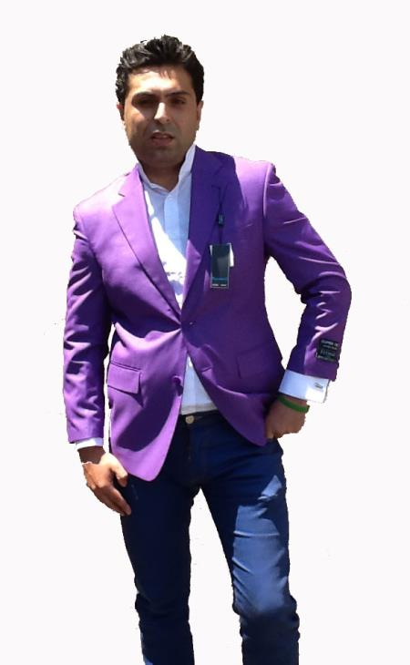SKU#T73C Stage Party Bright Mens 2 Button Sport Coat / Dinner Jacket Blazer Purple Color $108