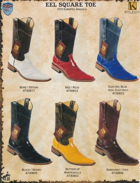 SKU#5GD3 Square-Toe Genuine Eel Diff. Colors/Sizes Cowboy Western Boots Bone/Red/Black/Blue/Buttercup/Burgundy