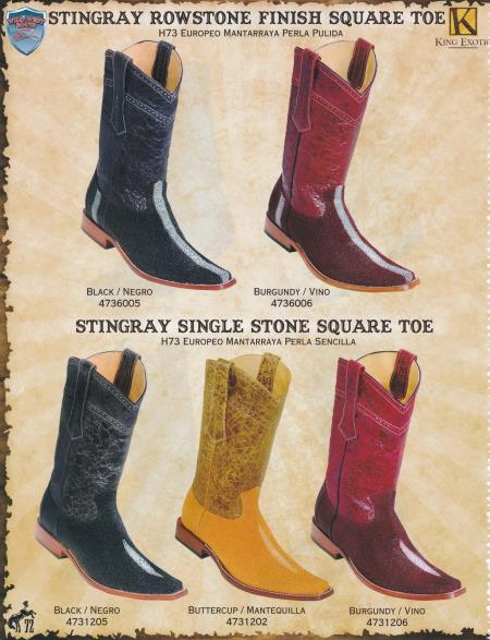 SKU#5BSS Square-Toe Genuine Stingray Diff.Color/Size Cowboy Western Boots Black/Burgundy/Buttercup$389