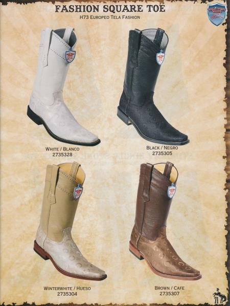 SKU#9CR3 Square-Toe Fashion Design Diff.Colors/Sizes Cowboy Western Boots Black/White/Winterwhite/Brown