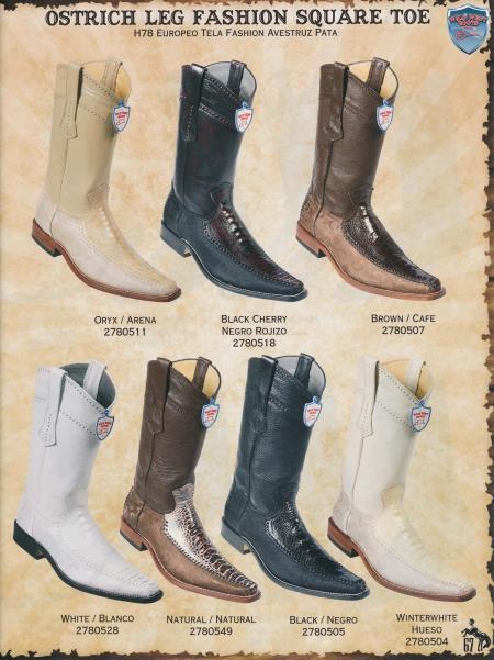 SKU#6VP0 Square-Toe Ostrich w/Fashion Design Mens Cowboy Boots Diff.Color/Size $289