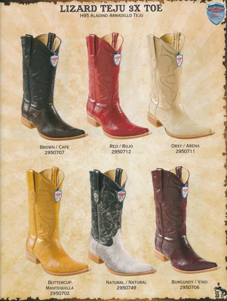 SKU#4PX2 XXX-Toe Genuine Lizard Teju Diff.Color/Size Cowboy Western Boots Brown/Red/Oryx/Buttercup/Natural