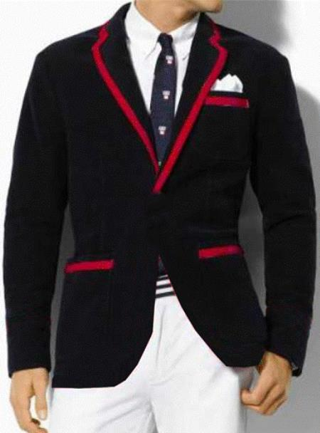 SKU#GF3 Classic Velvet Black Blazer with Red Trimming
