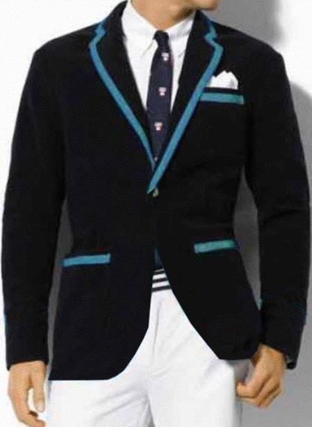 SKU#Y5W Classic Velvet Black Blazer with Blue Trimming $389