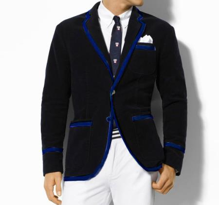 SKU#U4Z Classic Velvet Black Blazer with Navy Blue Trimming $389