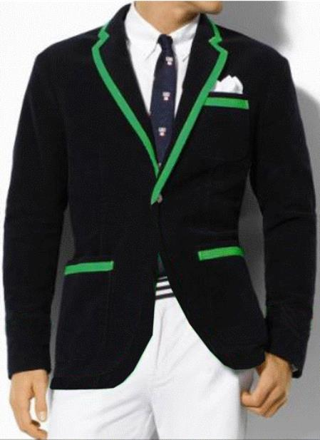 SKU#G8FS Classic Velvet Black Blazer with Green Trimming