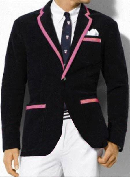 Classic Velvet Black Blazer With Pink Trimming Tuxedo For
