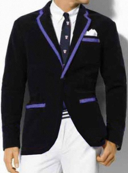 SKU#K2SQ Classic Velvet Black Blazer with Lavender Trimming $389