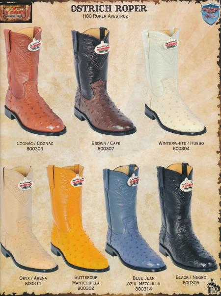 SKU#92SS Wild West Roper-Toe Genuine Ostrich Mens Cowboy Western Boots Diff.Colors/Sizes $309