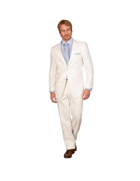 Linen summer Suit - White 2 button Jacket Blazer + Pants Slacks