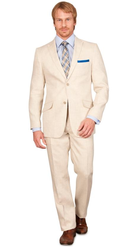 Men's Vintage Style Suits, Classic Suits Slim Fit Linen Suit Natural $499.00 AT vintagedancer.com