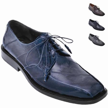 MensUSA.com Eel Skin Oxford Style Shoe Navy Blue(Exchange only policy) at Sears.com