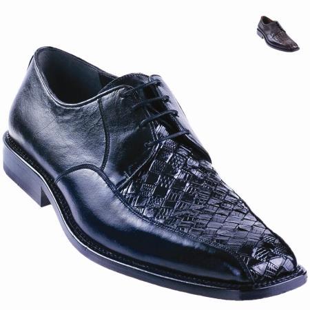 SKU#2DW2 Lizard Teju Oxford Shoe Black