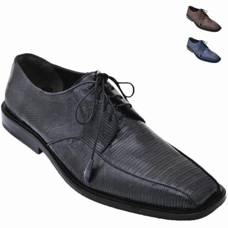 SKU#6CXC Lizard Teju Oxford Shoe Black