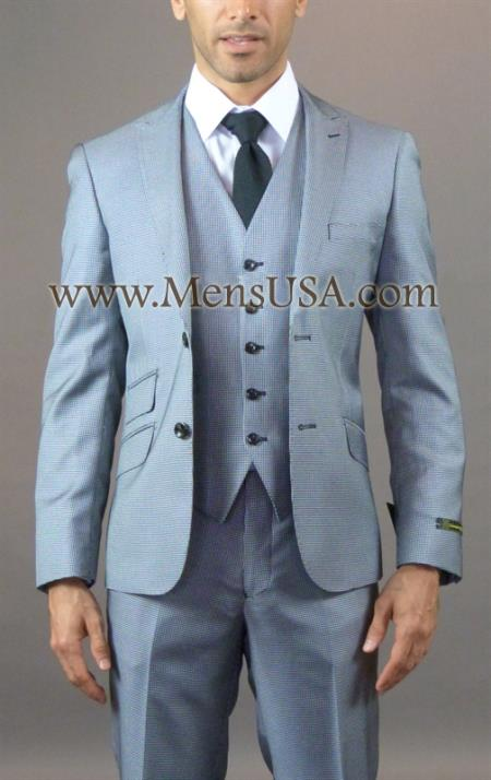 SKU#EE3XX 2 Button 3 Piece Black Peak Lapel Slim Fit Houndstooth Suit with Elbow Patch $275