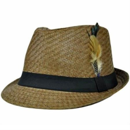 MensUSA.com Dark Brown Black Large XLarge Straw Fedora Gangster Feather Hat(Exchange only policy) at Sears.com