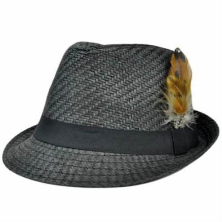 MensUSA.com Dark Gray Black Large XLarge Straw Fedora Gangster Feather Hat(Exchange only policy) at Sears.com