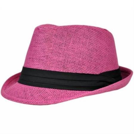 MensUSA.com Large XLarge Dark Hot Pink Black 100 Paper Fedora Gangster Hat(Exchange only policy) at Sears.com