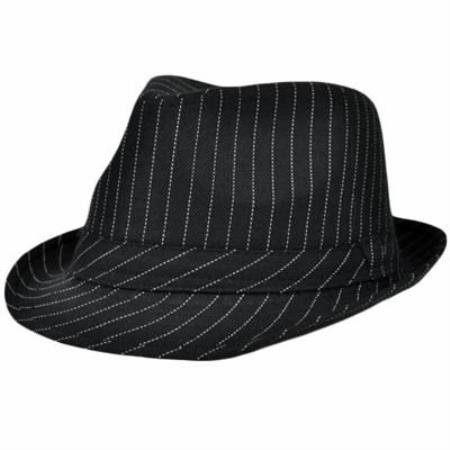 MensUSA.com Fedora Trilby Gangster Hat Large XLarge Black White Pin Stripes(Exchange only policy) at Sears.com