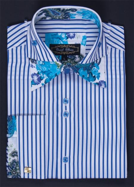 MensUSA Mens Fashion Dress Shirt Classic Stripe with Flower Trim Royal Blue at Sears.com