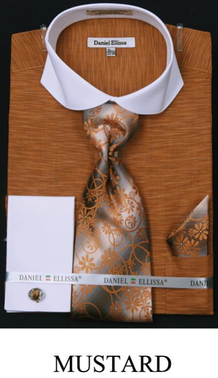Men 39 s spread collar french cuff dress shirt tie hanky for Spread collar dress shirt without tie