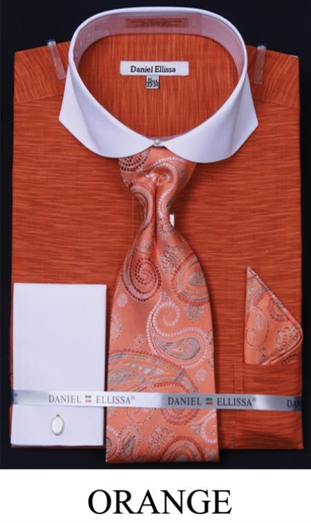 SKU#P2PE Mens Spread Collar French Cuff Dress Shirt, Tie, Hanky & Cuff Links - Two Tone Orange $65