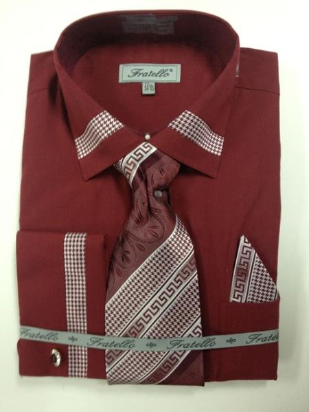 Sku br2e men 39 s french cuff dress shirt tie hanky and for Wine colored mens dress shirts